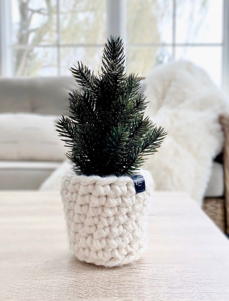 Faux MINI CHRISTMAS TREE with crochet planter sleeve image 0