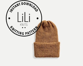 Pattern | LiLiKnits Knit Double Knit Reversible Unisex Beanie Hat | THE CLASSICO | Instant Download