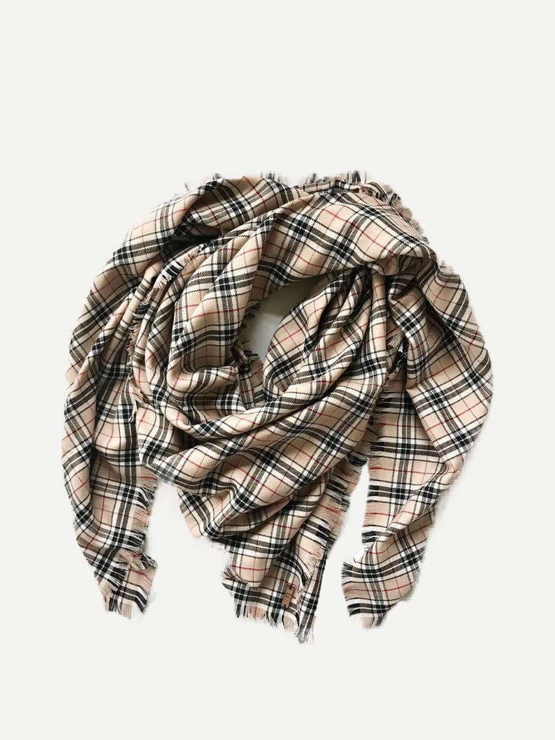 Tartan Fabric Blanket Triangle Scarf/Shawl  tan/black/white image 0