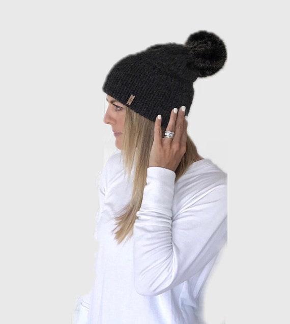 Double Brim Knit Beanie Hat with detachable Fur Pom Charcoal  73e2efc204c9