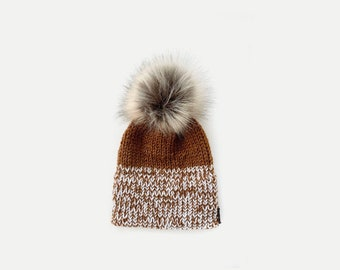 Marled Double Brim Knit Beanie Hat with detachable Faux Fur Pom  | THE BERRETTO