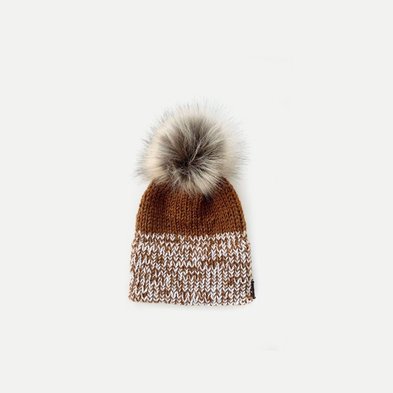Marled Double Brim Knit Beanie Hat with detachable Faux Fur image 0