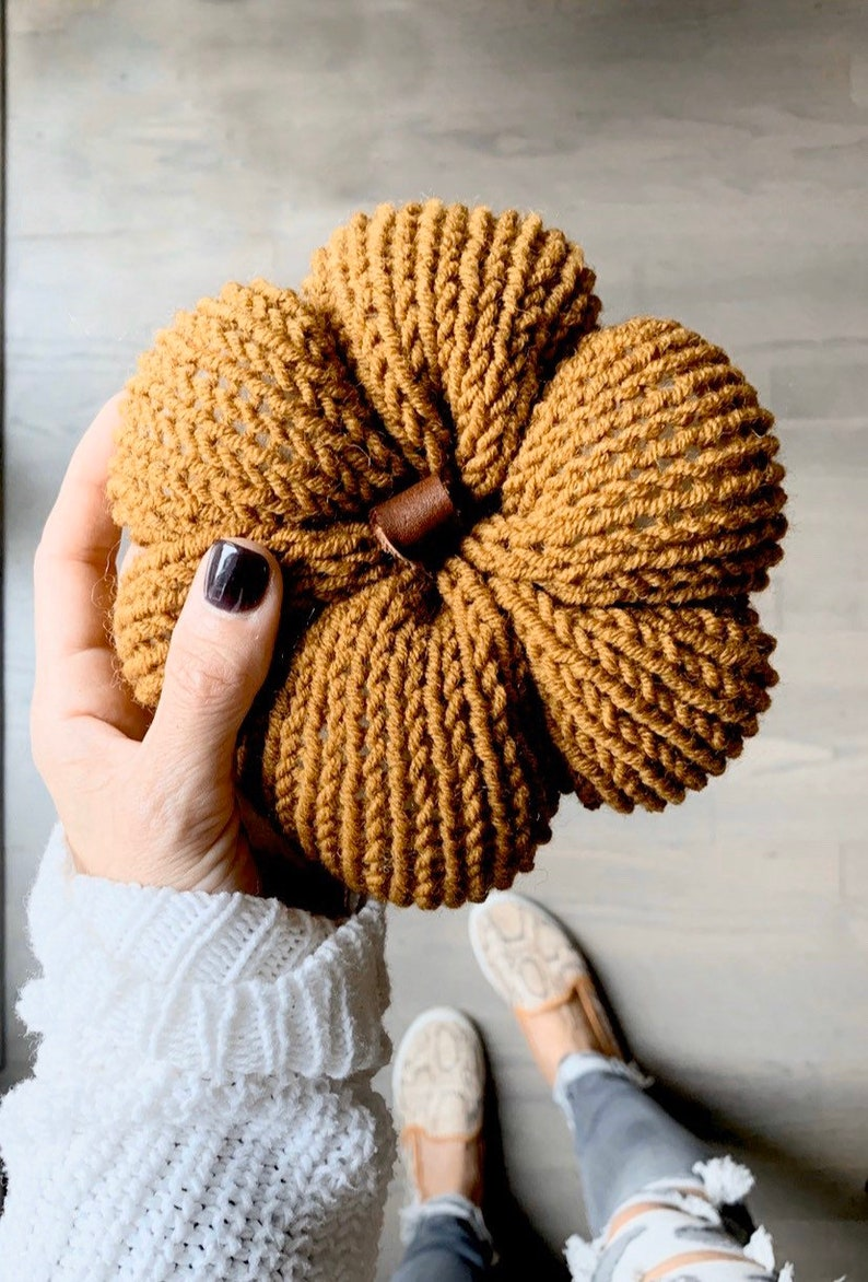 Knit Pumpkin fall decoration with leather stem image 0