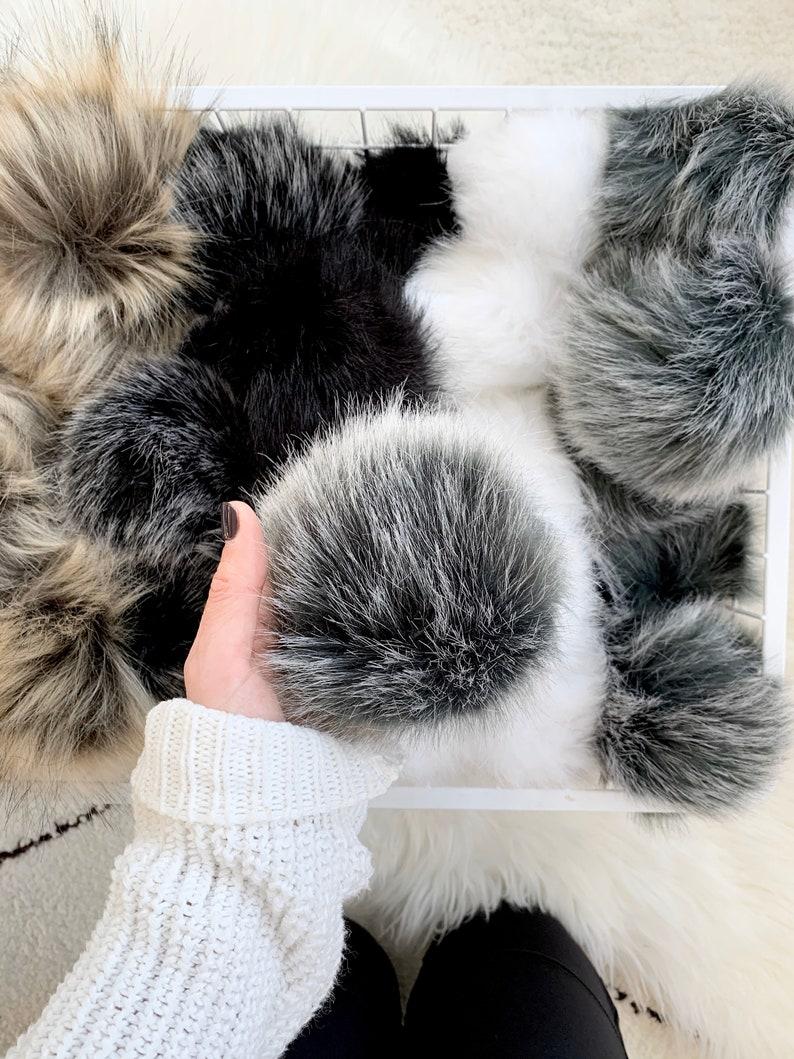 Faux Fur Pom with Detachable Snap for Knit Hat  5 ALPINE image 0