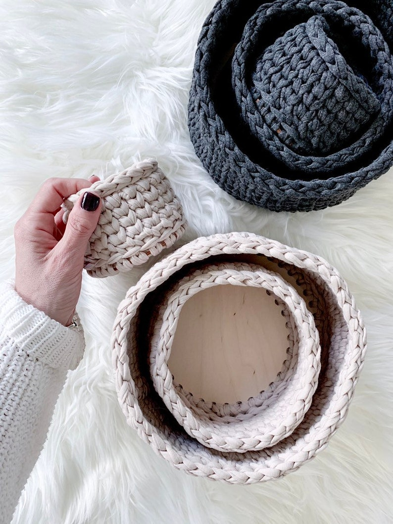 Modern Crochet Nesting Baskets with Wood Bases  Set of 3  Beige