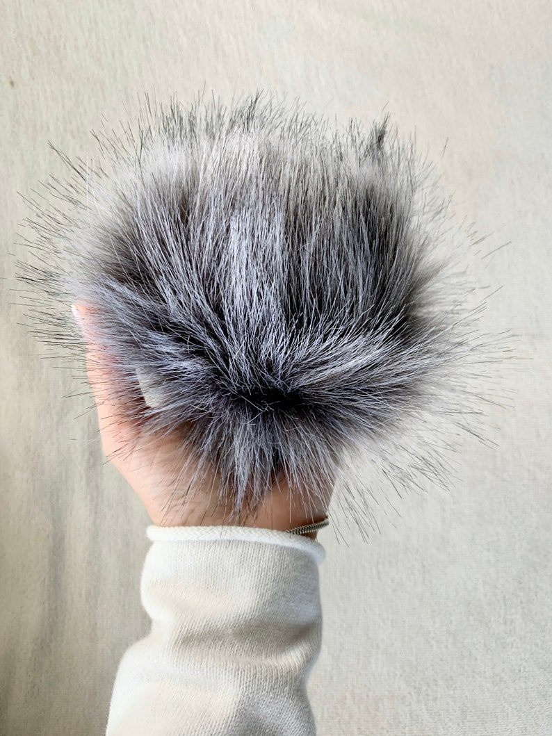 Faux Fur Pom with Detachable Snap for Knit Hat  6 FOX GREY image 0