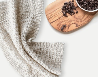 Hand Knit Dish Cloth Hand Towel | You Choose Pattern + Color