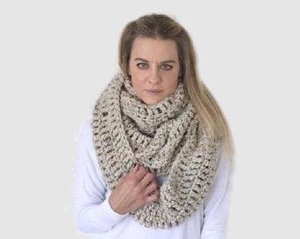 Huge Extra large Chunky Crochet Blanket Infinity Scarf   Beige/Tan/Oatmeal  THE COPERTA