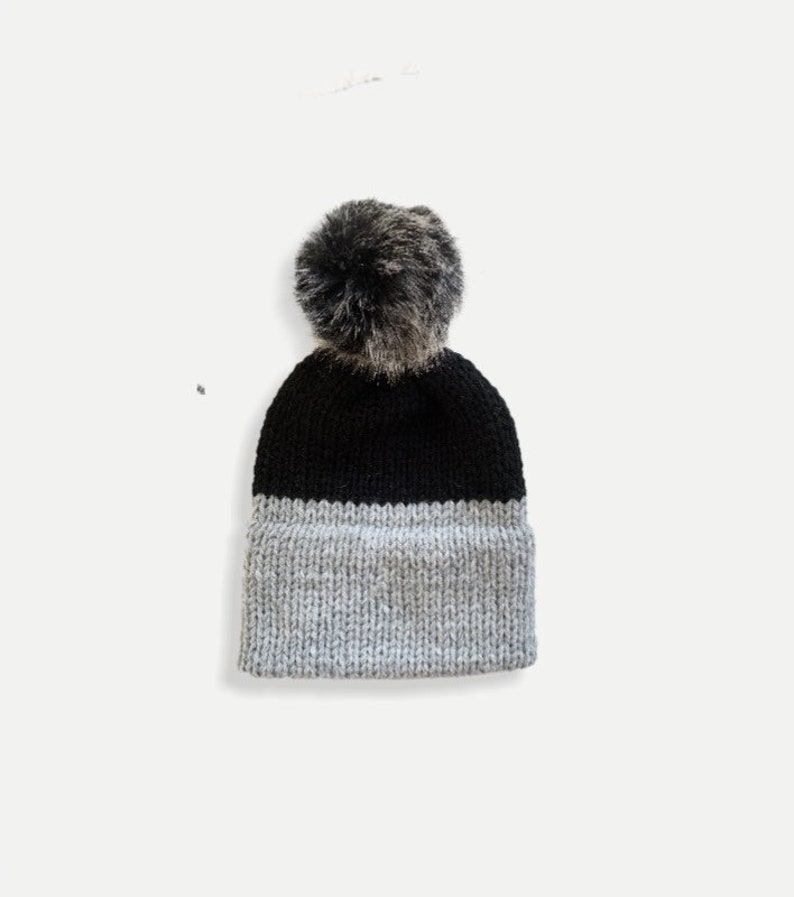 Double Brim Knit Beanie Hat with detachable Fur Pom  Two-Tone image 0