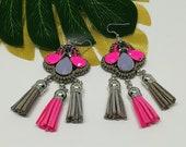 Hot Pink Grey Earrings, Tassel earrings, Beaded Statement Chunky Earrings, Festival Jewelry, Embroidery, Clubbing jewelry