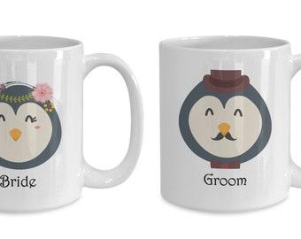 Penguin Bride and Groom Wedding Mugs Bridal Shower Gift