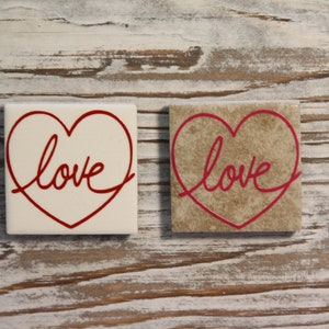Kitchen  Office  Locker  Fridge Tile Magnet Candy Heart Cookies Ceramic Tile Magnet or Ornament Valentines Day Gifts  Cards  Decor