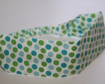 Polka Dot Pastel Colors  Headband, headbands, womens headband, girls headband, green headband, green polka dot headband, green blue headband