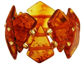 Baltic Amber Stretch Ring Barrel 2 different colour options. approx.: 15 rectangular amber beads