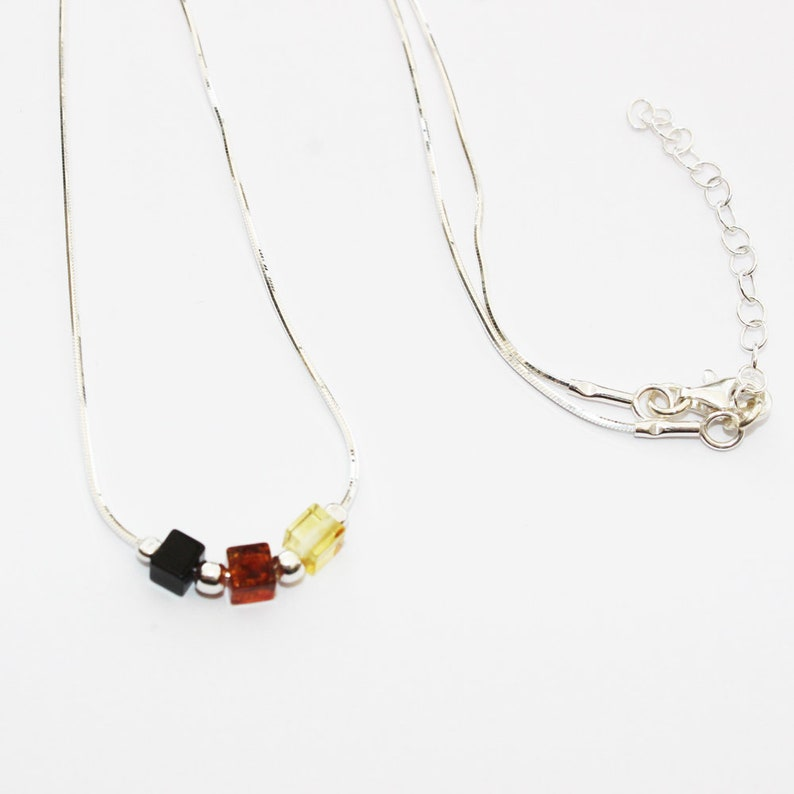 gorgeous gift box 925 st Match Amber Bracelet silver multicolour Elegant Amber Sterling Silver Necklace Length 16.5 inch.- 18.5 inch.