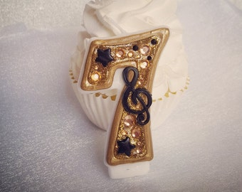 Music Musical Note Gold Black Birthday Candle Keepsake Anniversary Custom Number