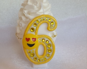 Emoji, happyface birthday candle, keepsake candle, anniversary candle, custom candle, number candle