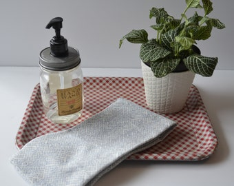 Vintage red and white gingham tin tray