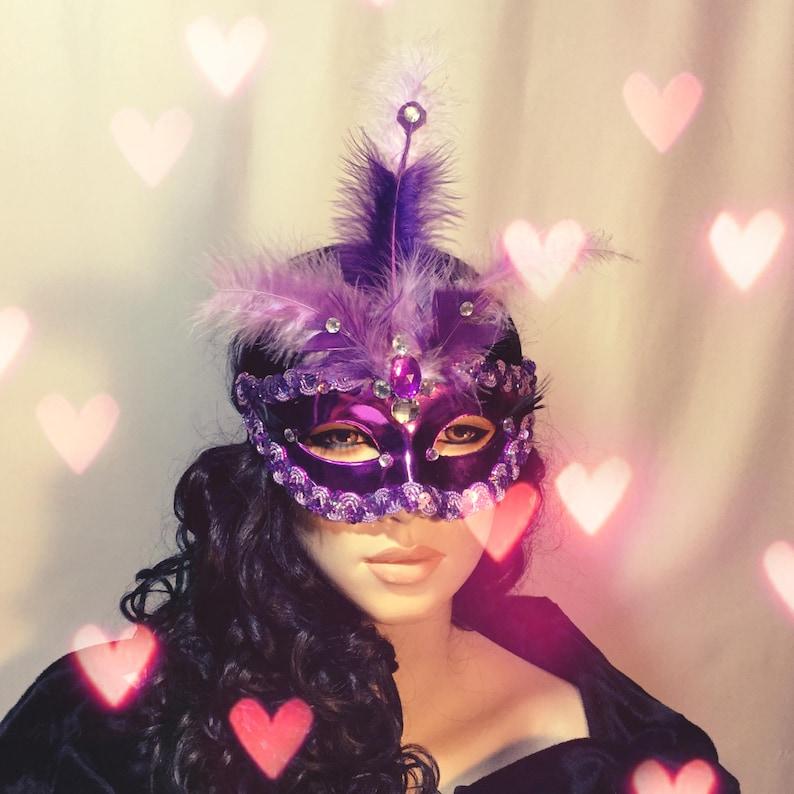 Feather Rhinestone Mask Womens Mask with Feathers Feather Masquerade Mask Feather Masquerade Ball Mask Purple Masquerade Mask