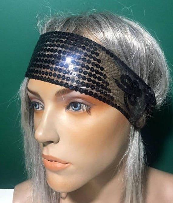 Black Sequin Headband Boho Headpiece Girls Headband Sequin  530acd596d3