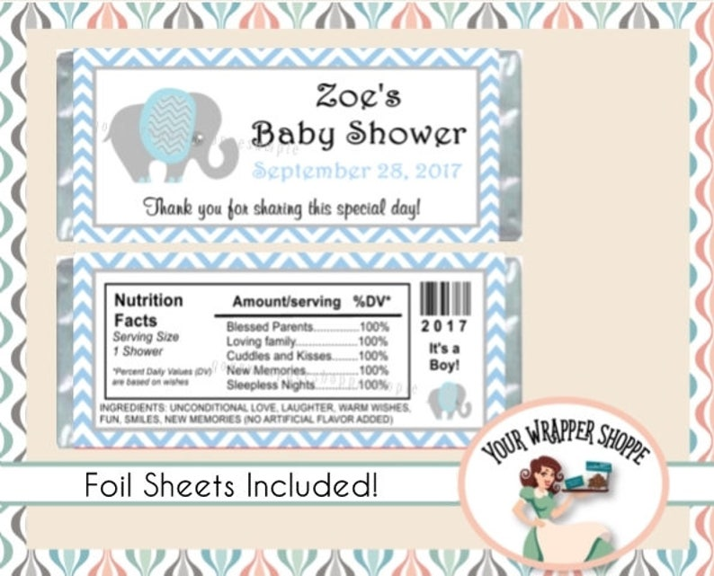 20 Personalized BABY SHOWER Printed Candy Bar Wrappers w//Foil or Digital File