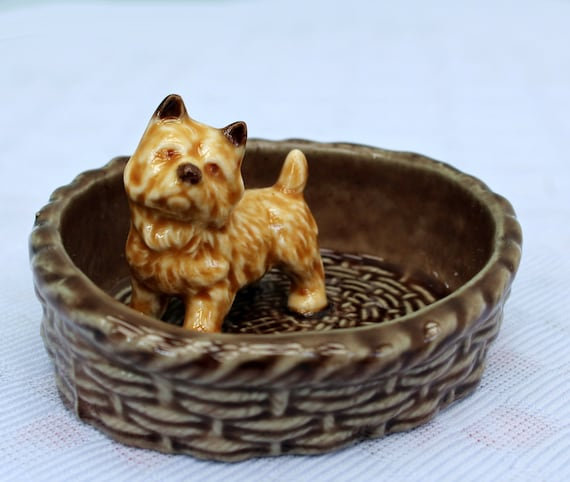 Wade Terrier Dog in a Basket Pottery Trinket Tray,