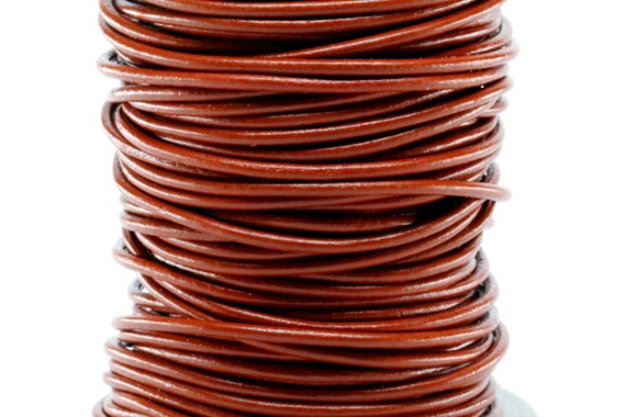 11 yards Brown Distressed Red Round Leather Cord 3mm 10 meters