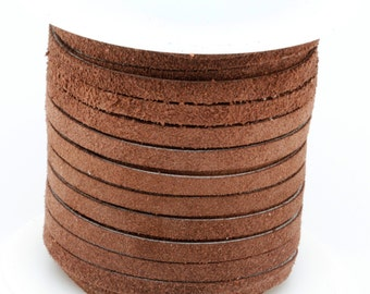 1 Yard of 5MM Chocolate Brown Leather Suede Lace