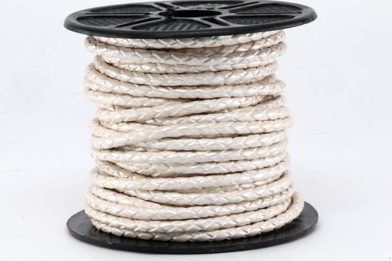 10m 10 yards 30 Feet 3MM Pearl White Braided Round Genuine Bolo Leather Cord 10 Meter Spool