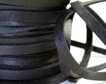 1 Yard / 3 Feet of 5MM Black Flat Genuine Italian Leather Lace Cord