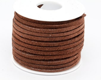1 Yard of 3MM Chocolate Brown Leather Suede Lace