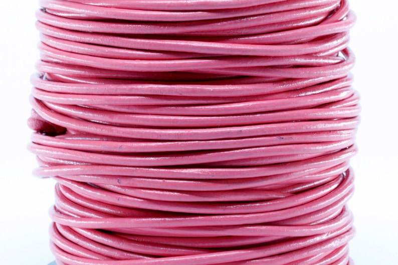 50 Meter Spool of 3MM Pink Round Leather Cord 50m 50 yards