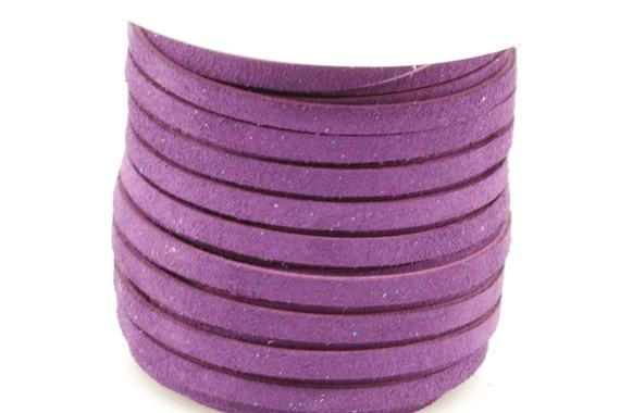 50 Feet Spool of 3MM Violet Purple Flat Genuine Italian Deertan Deer Tan Leather Lace Cord Roll