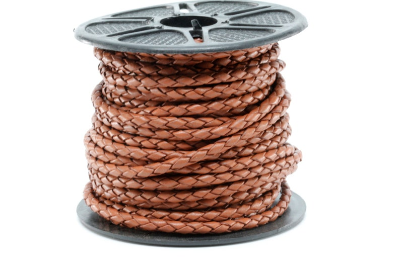 3mm round light brown leather cord 5-yard section spool is not included