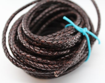 Natural Antique Brown Braided Round Bolo Leather Cord 3mm 4mm 5mm 6mm 8mm 10mm 5, 10, 25, 50, 100 Feet (yards, meters)