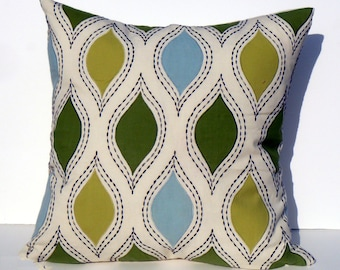 Let's Dance in Chartreuse & Sky- This listing is for one Pillow