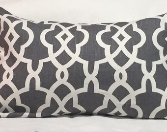 Schumacher Summer Palace Fret in Smoke Colorway- This Listing is for One Pillow