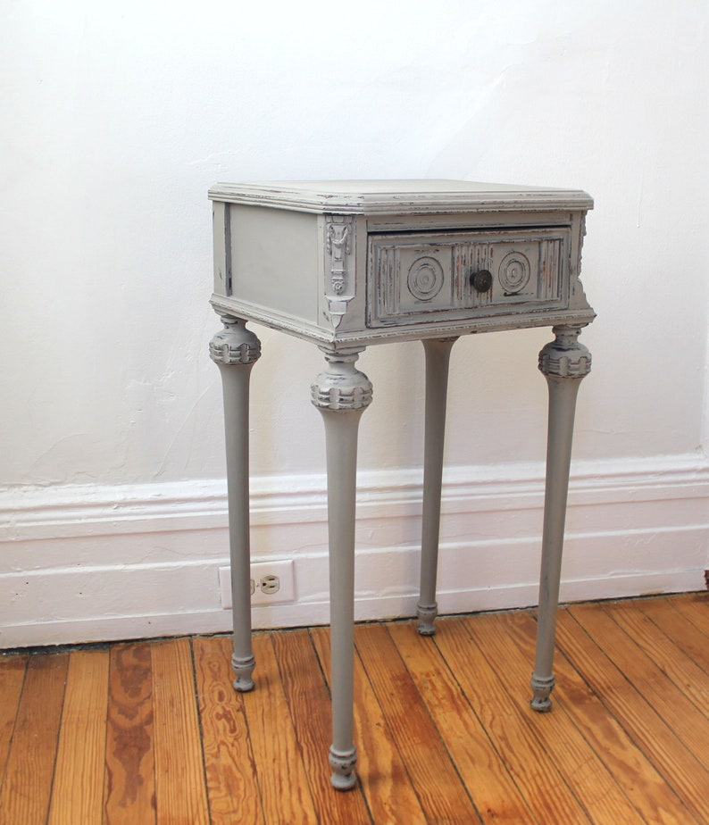 Farmhouse  Side Table Cottage Nightstand Vintage French Style