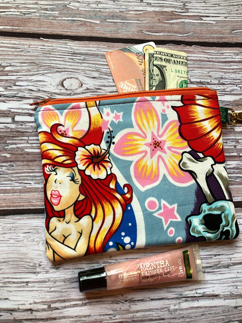 Zip case for your changeID Killer mermaid Grad gift Gift card holder Skull case Coin pouch Wedding