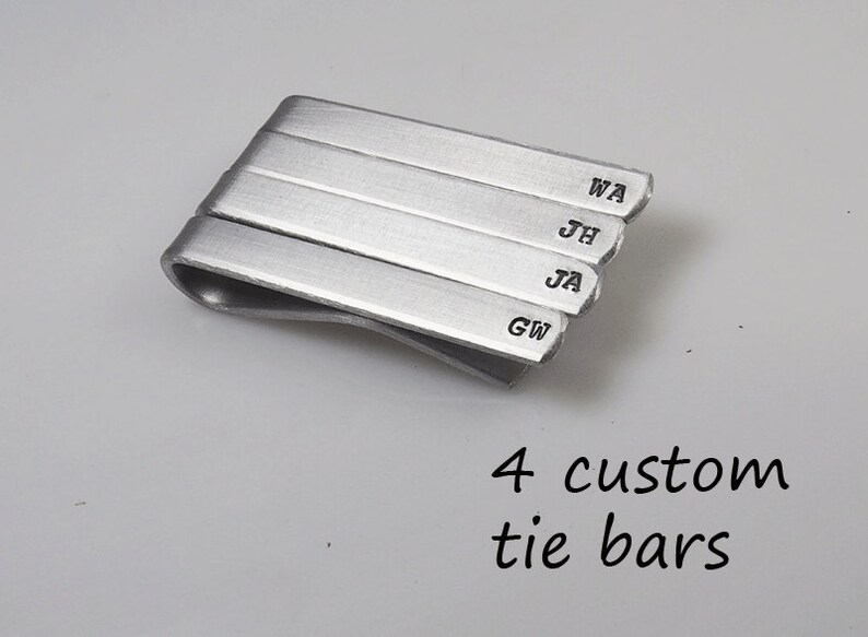 Tie Clip Tie Bar Set of 4 Custom Aluminum Personalized Hand Stamped Groomsman gift Father/'s Day Choose Phrase Bulk