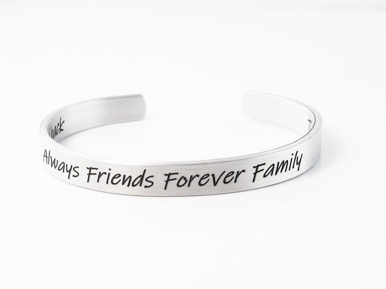 Custom Bracelet Sister Gift Distance Bracelets Christmas Gift Friendship Bracelet Engraved Silver Cuff Personalized Stocking Stuffer