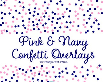 Confetti Clipart, pink & navy confetti overlay, confetti borders, digital confetti, pink polka dot clip art, blue dot, transparent PNG 5041