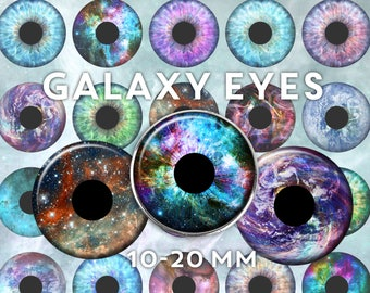 Eyes Digital Collage Sheet - Galaxy Space Stars Astronomy Rainbow clip art - circles 10mm 12mm 14mm 16mm 18mm 20mm Instant Download 2138