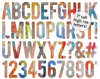 Painted Alphabet - rustic wood letters country chic clip art 5042