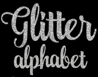 Silver Glitter Alphabet - Silver Alphabet - sparkly glitter script handwriting alphabet, silver glitter clip art letters 5033