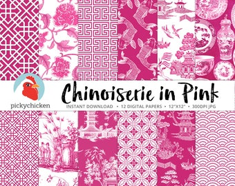 Chinoiserie Digital Paper, Chinese patterns, pink & white paper, Valentines, Oriental, French, China photography backdrop 8106