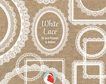 Lace Clip Art - 24 white lace frames doilies - doily wedding shabby chic labels clipart photography overlay printable Instant Download 5013