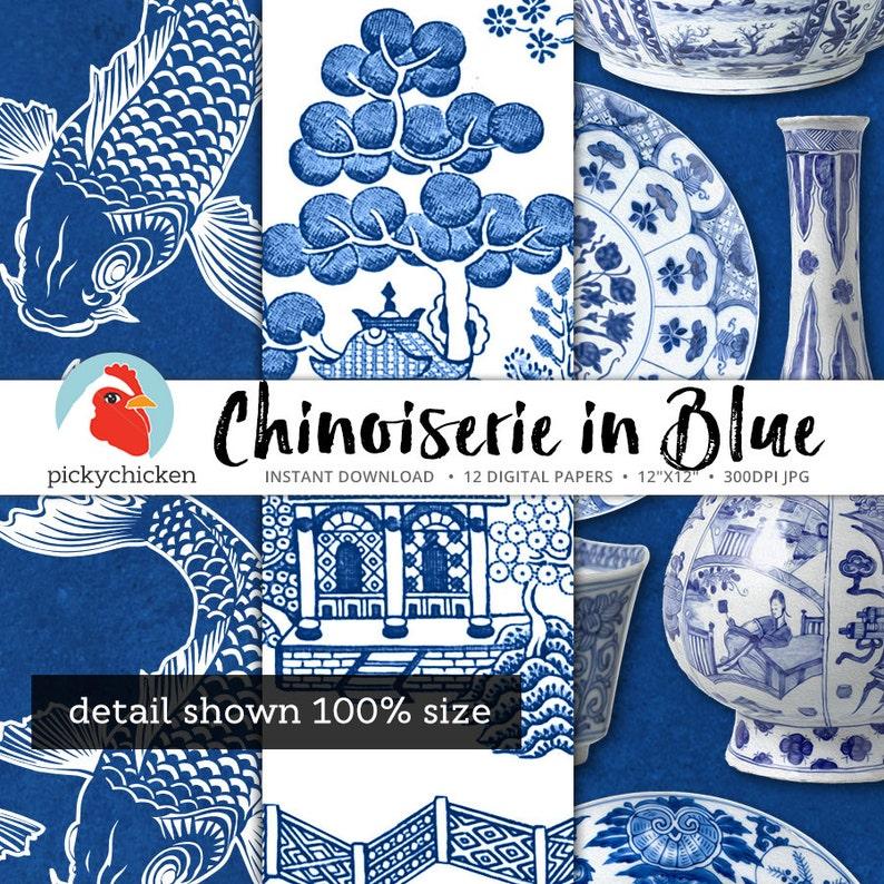 chinoiserie digital paper chinese patterns blue  u0026 white