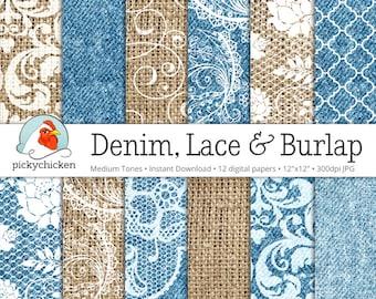 Denim Burlap & Lace Digital Paper - burlap digital paper, denim digital paper, wedding paper photography backdrop Instant Download 8065