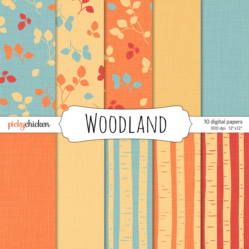 Woodland Trees Leaves & Linen digital papers  fall colors image 0